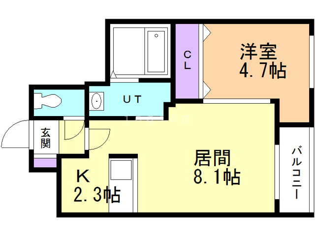 PERFECT PARTNER RESIDENCE A棟 107 間取り図